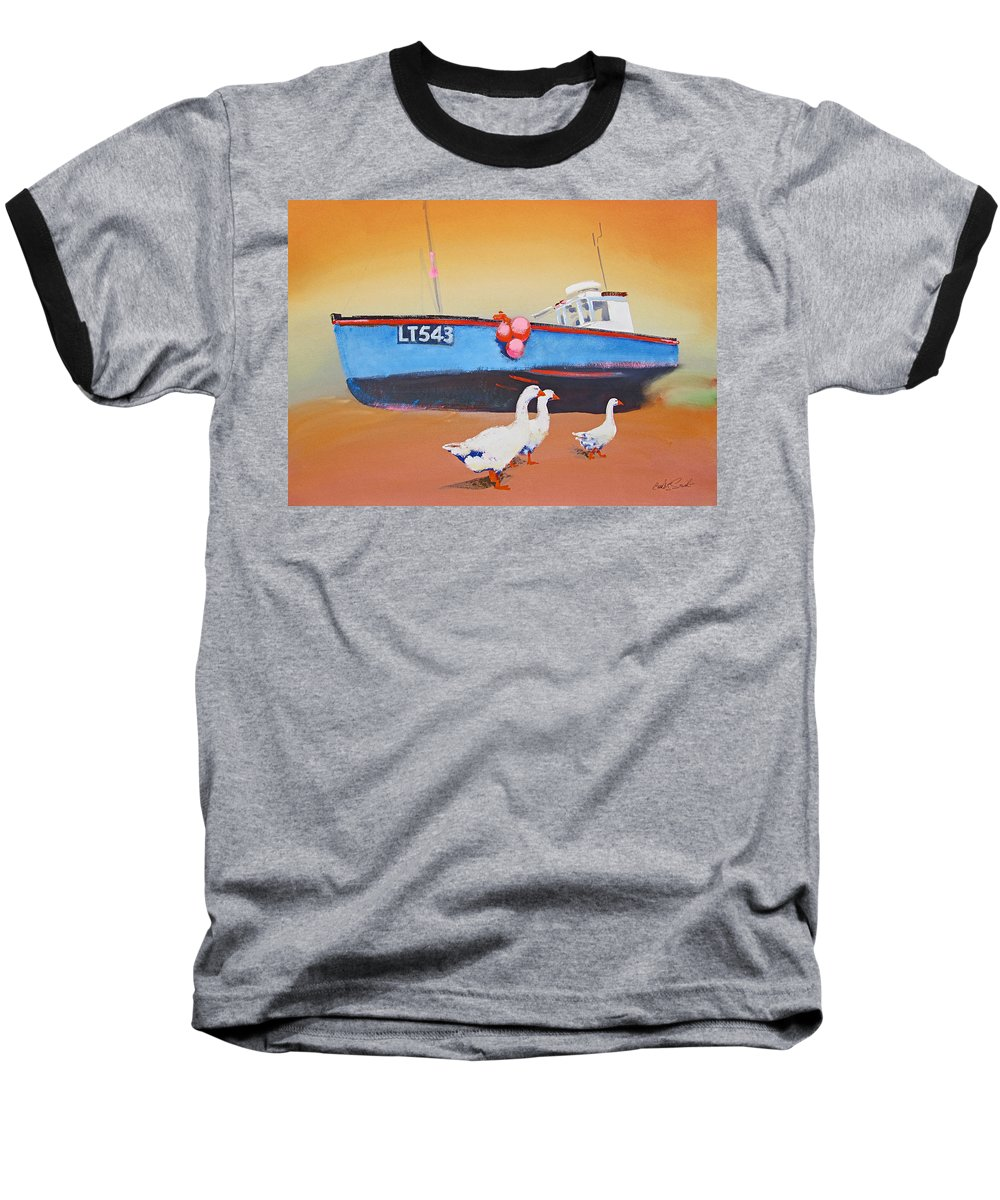 Geese Baseball T-Shirt featuring the painting Fishing Boat Walberswick With Geese by Charles Stuart