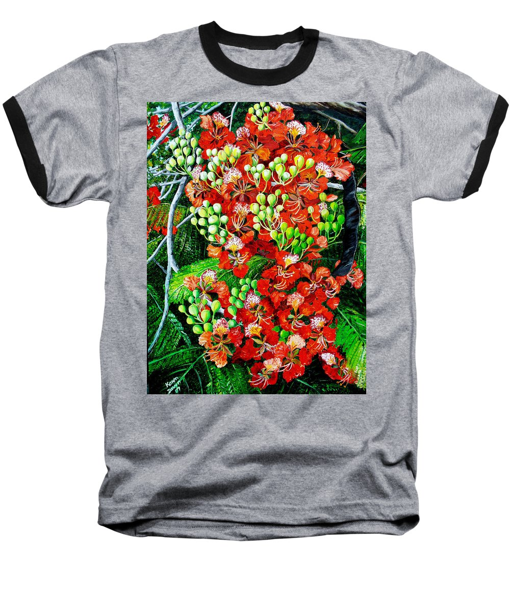 Royal Poincianna Painting Flamboyant Painting Tree Painting Botanical Tree Painting Flower Painting Floral Painting Bloom Flower Red Tree Tropical Paintinggreeting Card Painting Baseball T-Shirt featuring the painting Flamboyant In Bloom by Karin Dawn Kelshall- Best