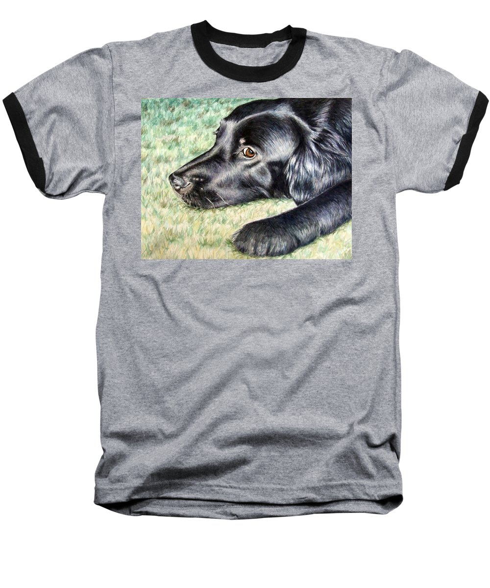 Dog Baseball T-Shirt featuring the painting Flat Coated Retriever by Nicole Zeug