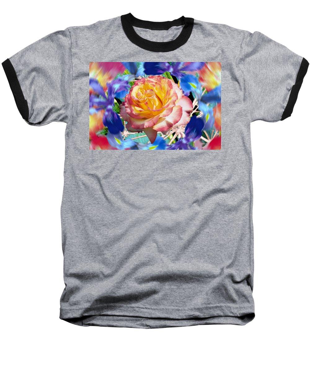 Flowers Baseball T-Shirt featuring the digital art Flower Dance 2 by Lisa Yount