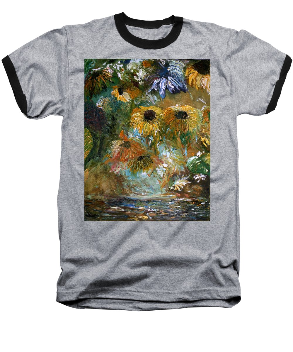 Flowers Baseball T-Shirt featuring the painting Flower Rain by Jack Diamond