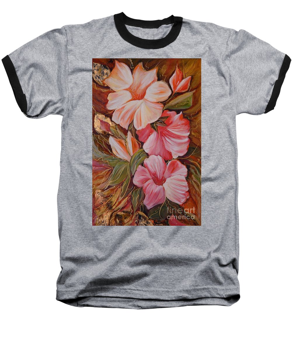 Abstract Baseball T-Shirt featuring the painting Flowers II by Silvana Abel