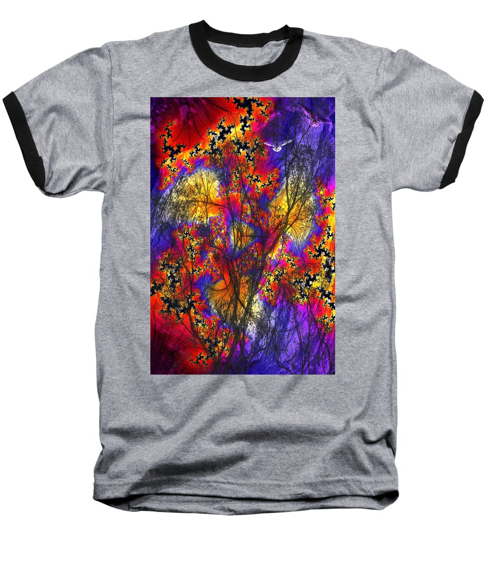 Forest Fire Baseball T-Shirt featuring the digital art Forest Fire by Lisa Yount