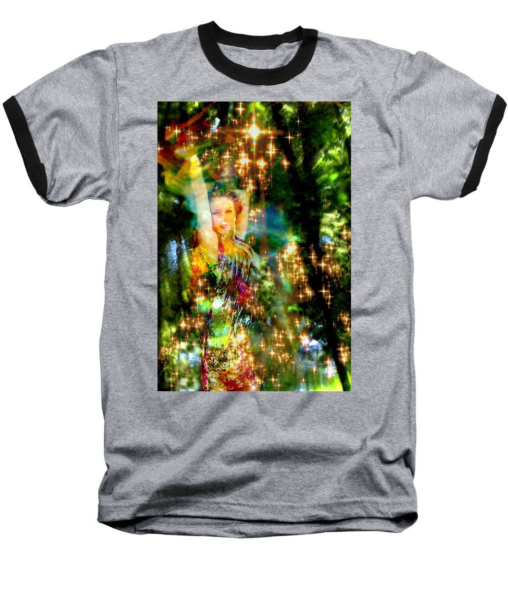 Forest Baseball T-Shirt featuring the digital art Forest Goddess 4 by Lisa Yount