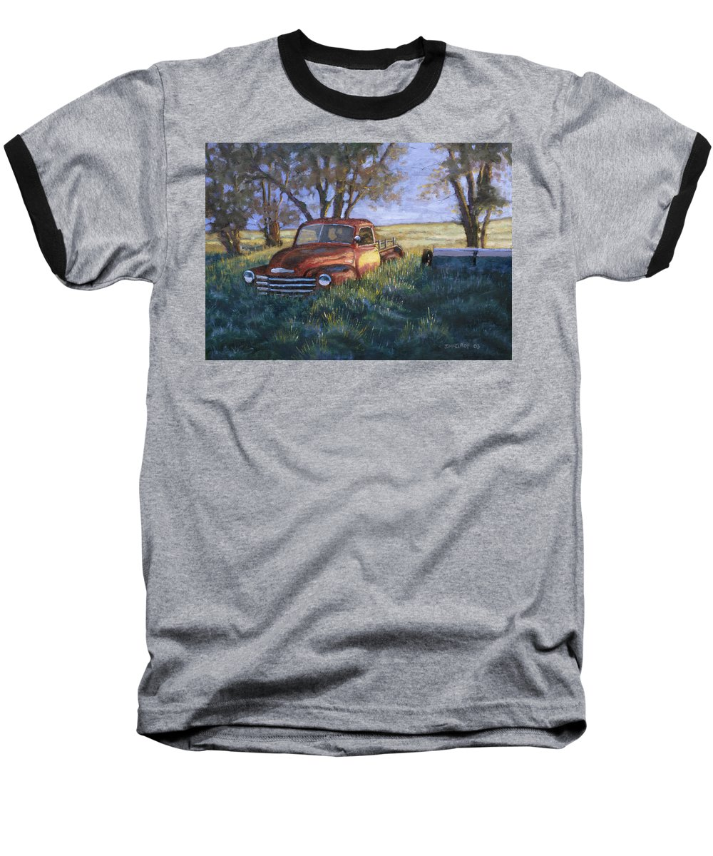 Pickup Truck Baseball T-Shirt featuring the painting Forgotten But Still Good by Jerry McElroy