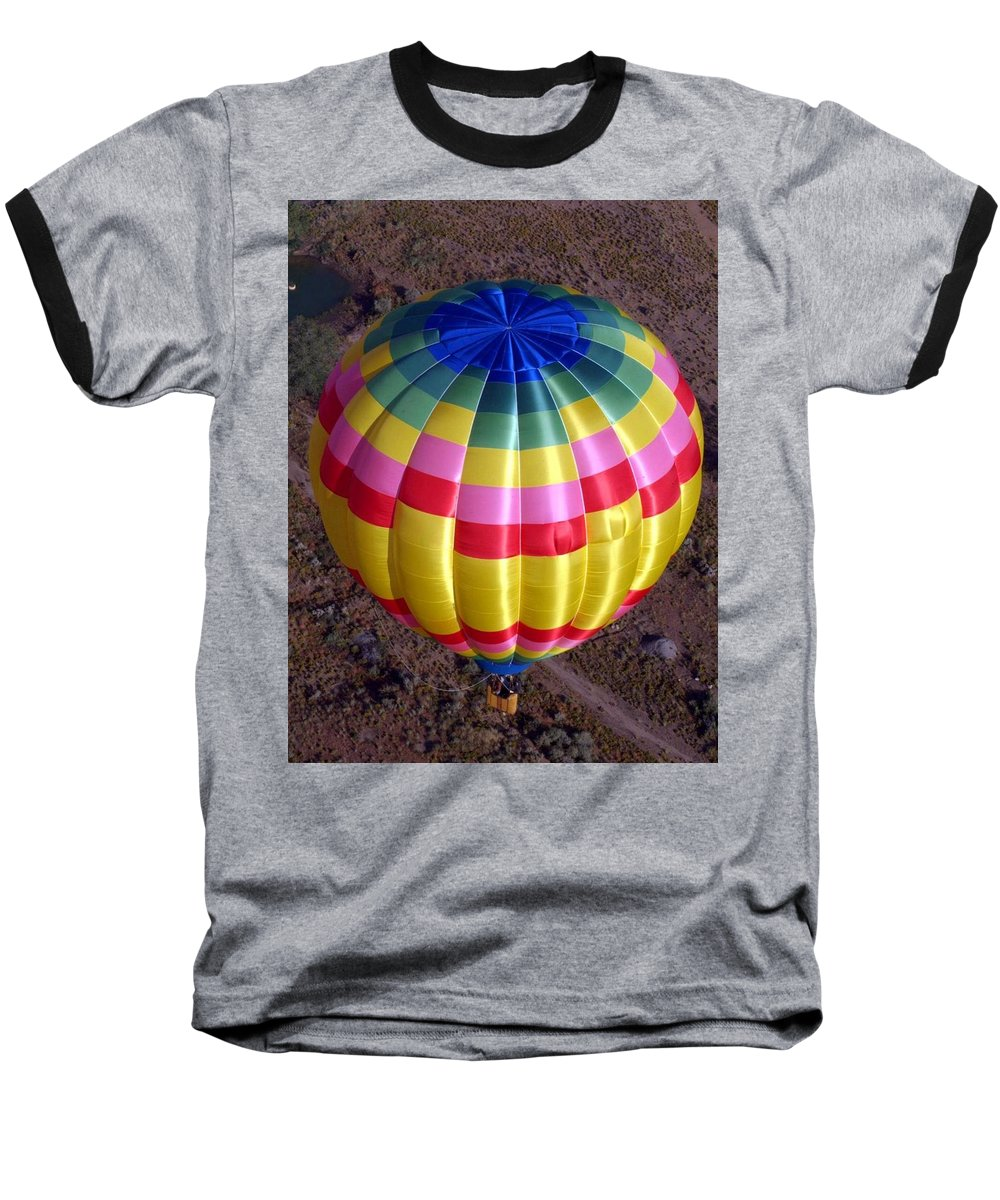 Hot Air Balloon Baseball T-Shirt featuring the photograph From Above by Mary Rogers
