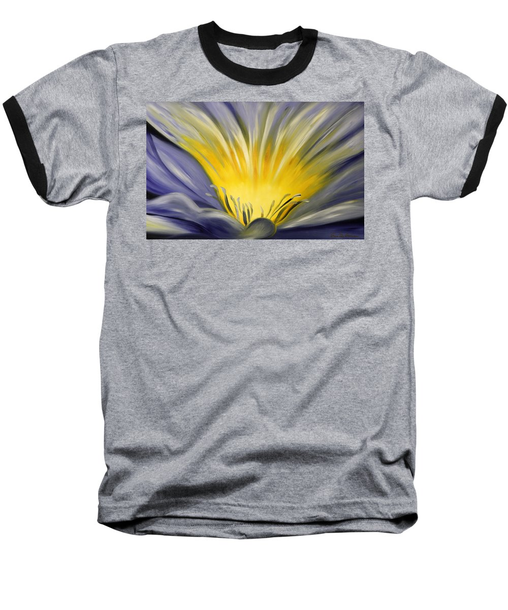 Blue Baseball T-Shirt featuring the painting From The Heart Of A Flower Blue by Gina De Gorna