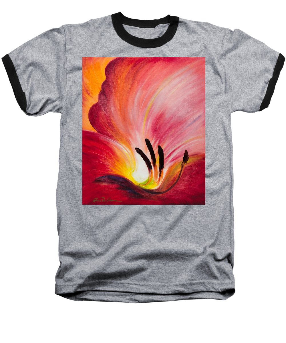 Red Baseball T-Shirt featuring the painting From The Heart Of A Flower Red I by Gina De Gorna