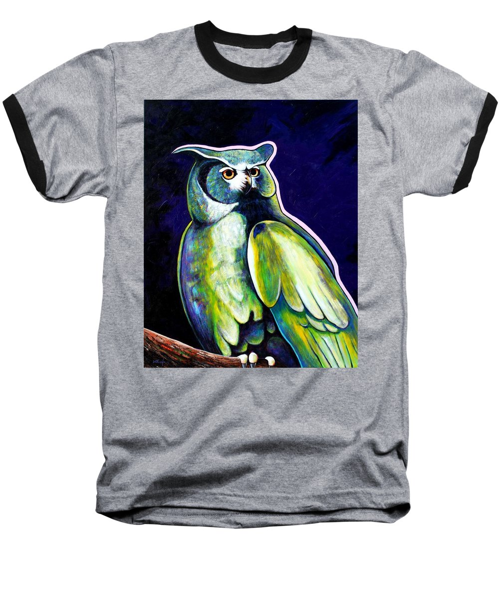 Owl Baseball T-Shirt featuring the painting From The Shadows by Joe Triano