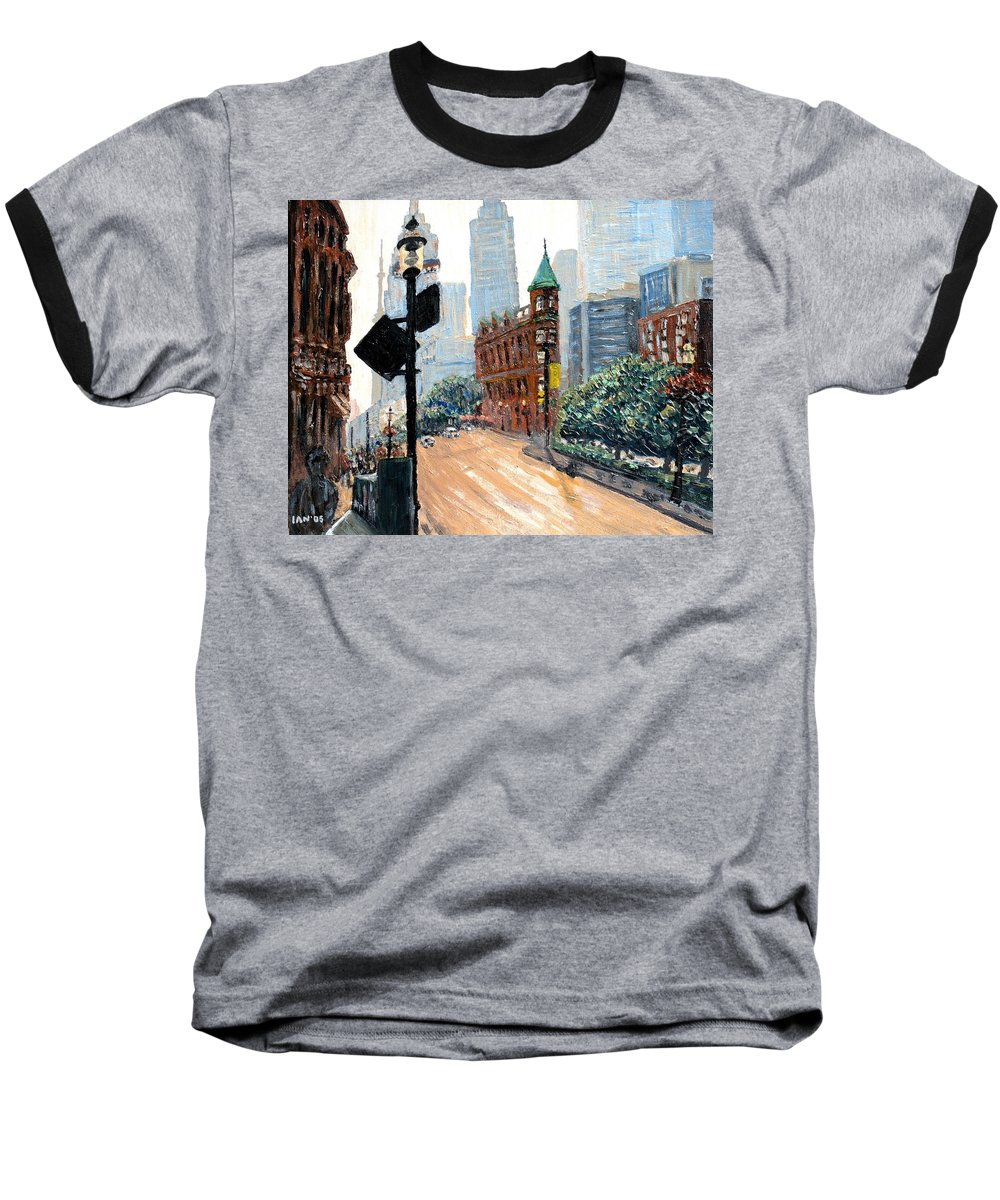 Toronto Baseball T-Shirt featuring the painting Front And Church by Ian MacDonald