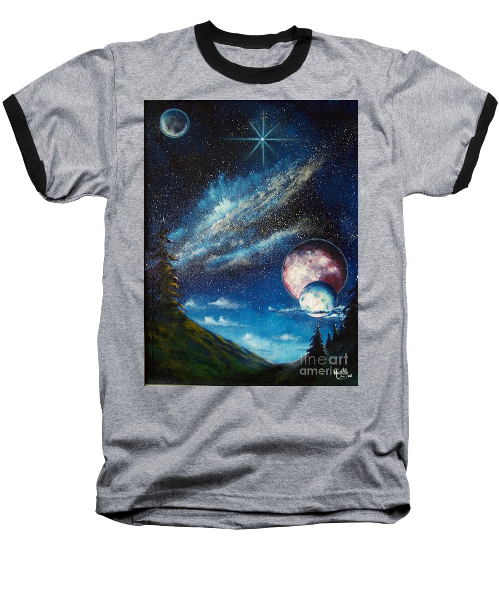 Space Horizon Baseball T-Shirt featuring the painting Galatic Horizon by Murphy Elliott