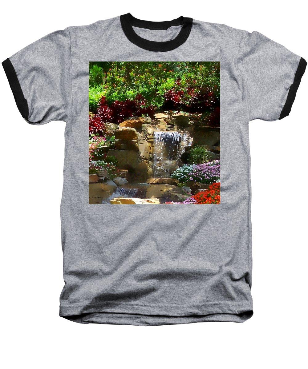 Garden Baseball T-Shirt featuring the photograph Garden Waterfalls by Pharris Art
