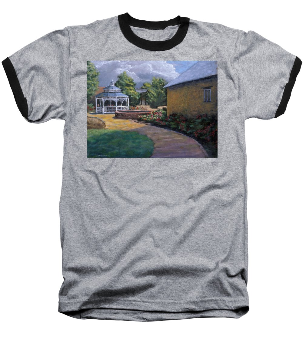Potter Baseball T-Shirt featuring the painting Gazebo In Potter Nebraska by Jerry McElroy