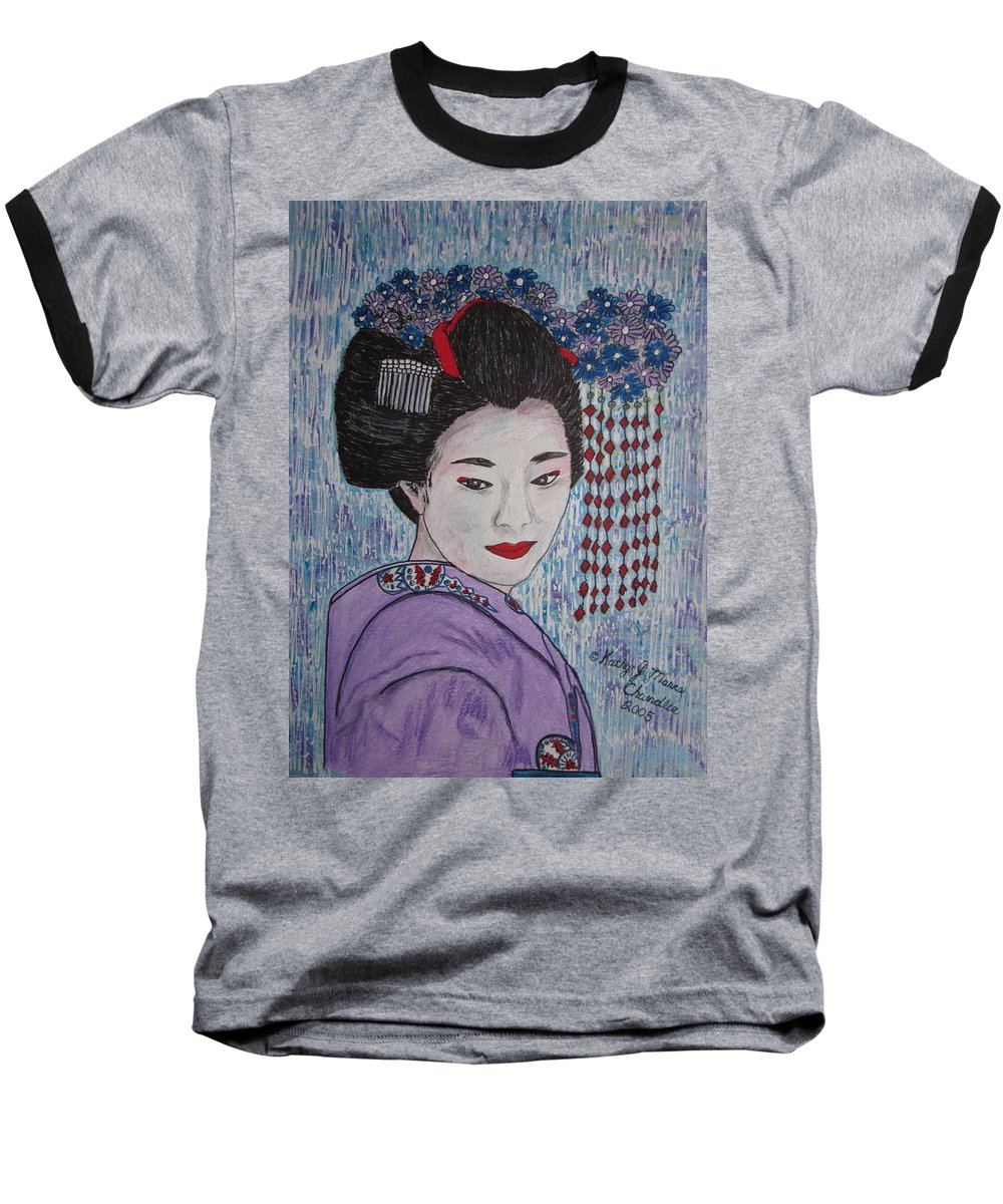 Oriental Baseball T-Shirt featuring the painting Geisha Girl by Kathy Marrs Chandler