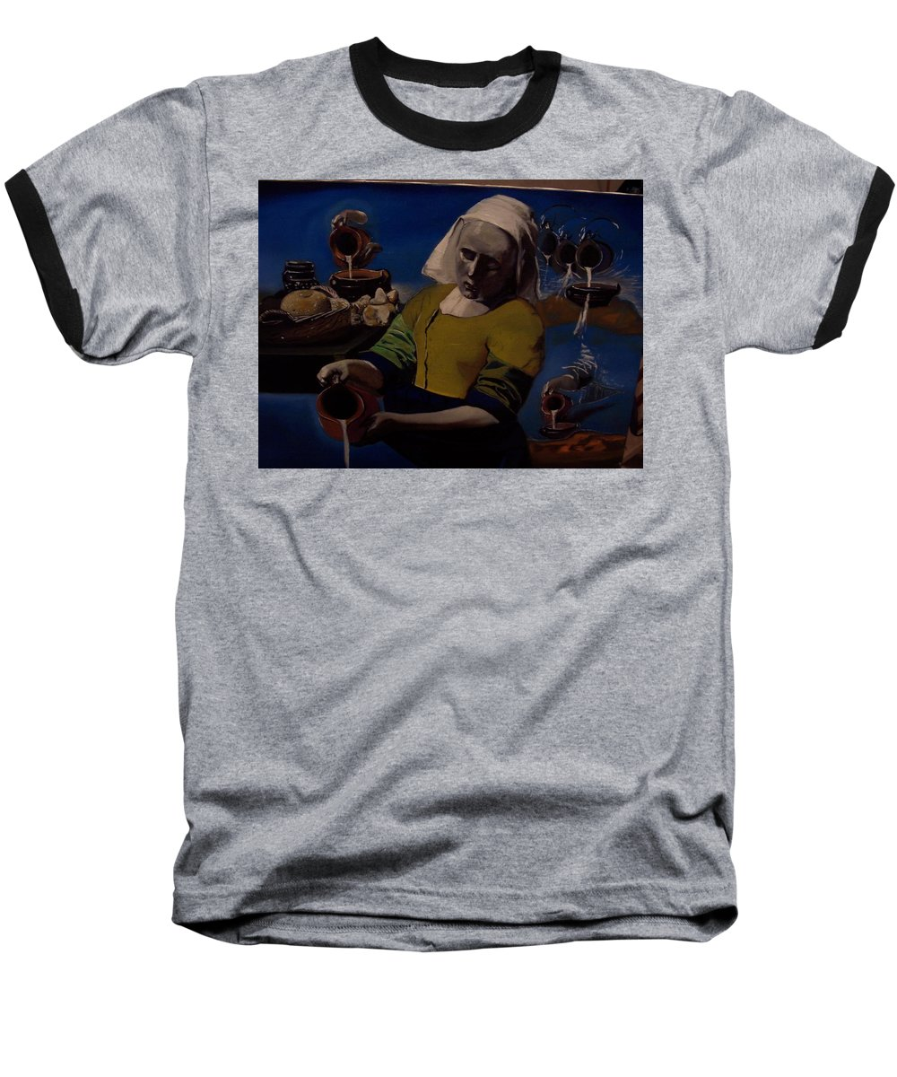 Baseball T-Shirt featuring the painting Geological Milk Maid Anthropomorphasized by Jude Darrien