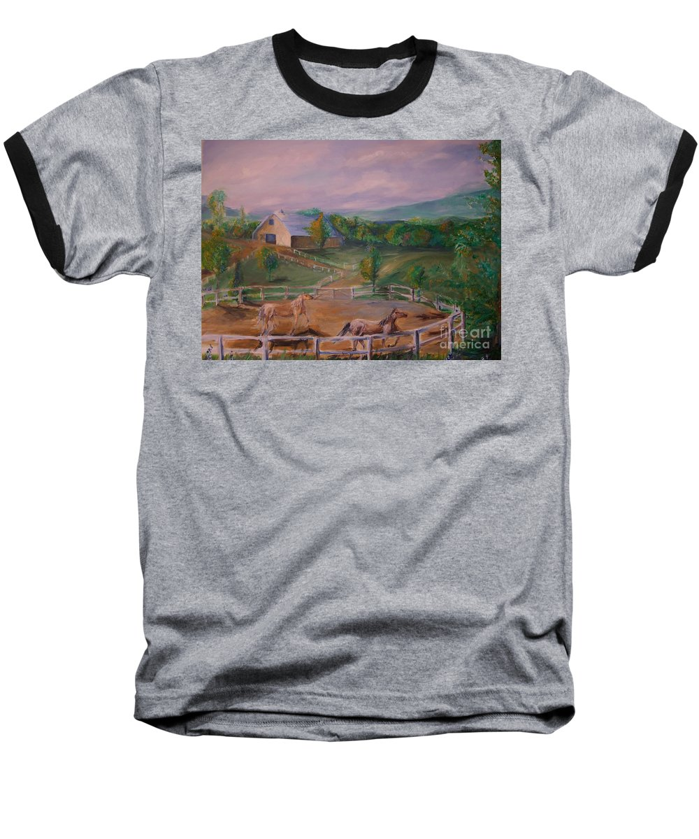 Pennsylvania Baseball T-Shirt featuring the painting Gettysburg Farm by Eric Schiabor