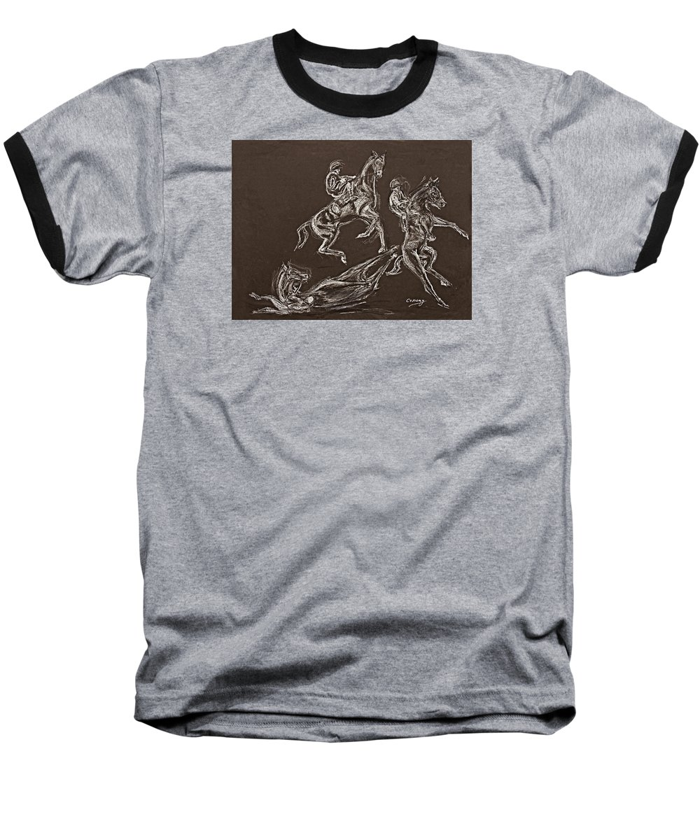 Rearing Horse Baseball T-Shirt featuring the drawing Ghost Riders In The Sky by Tom Conway
