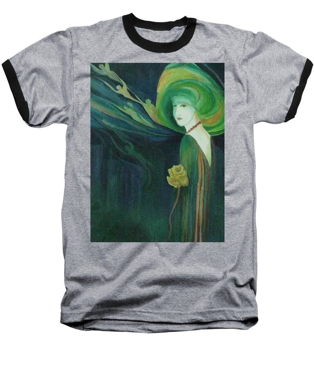 Women Baseball T-Shirt featuring the painting My Haunted Past by Carolyn LeGrand