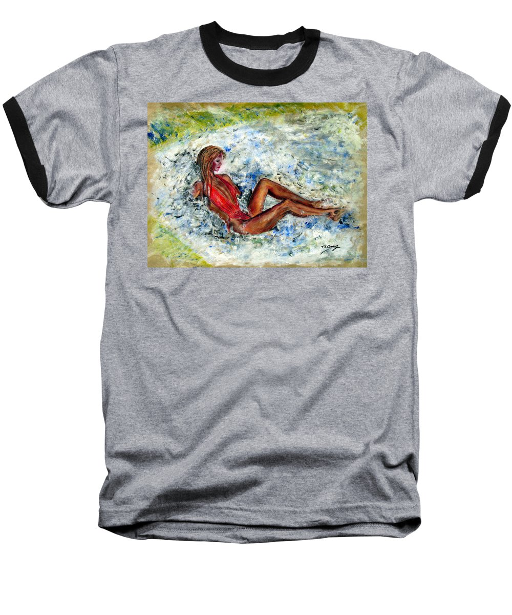 Girl Baseball T-Shirt featuring the painting Girl In A Red Swimsuit by Tom Conway