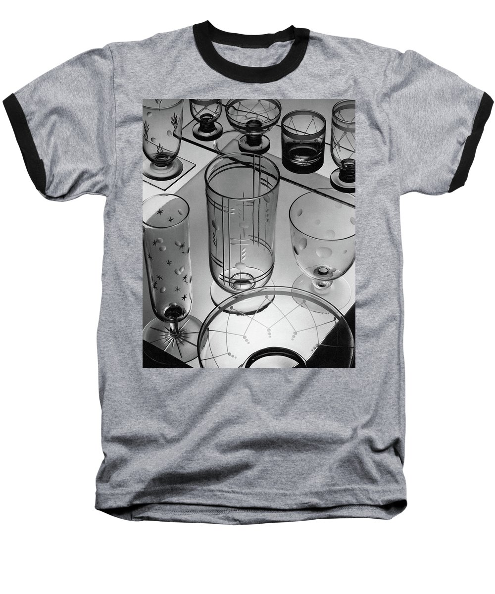 Home Accessories Baseball T-Shirt featuring the photograph Glasses And Crystal Vases By Walter D Teague by The 3