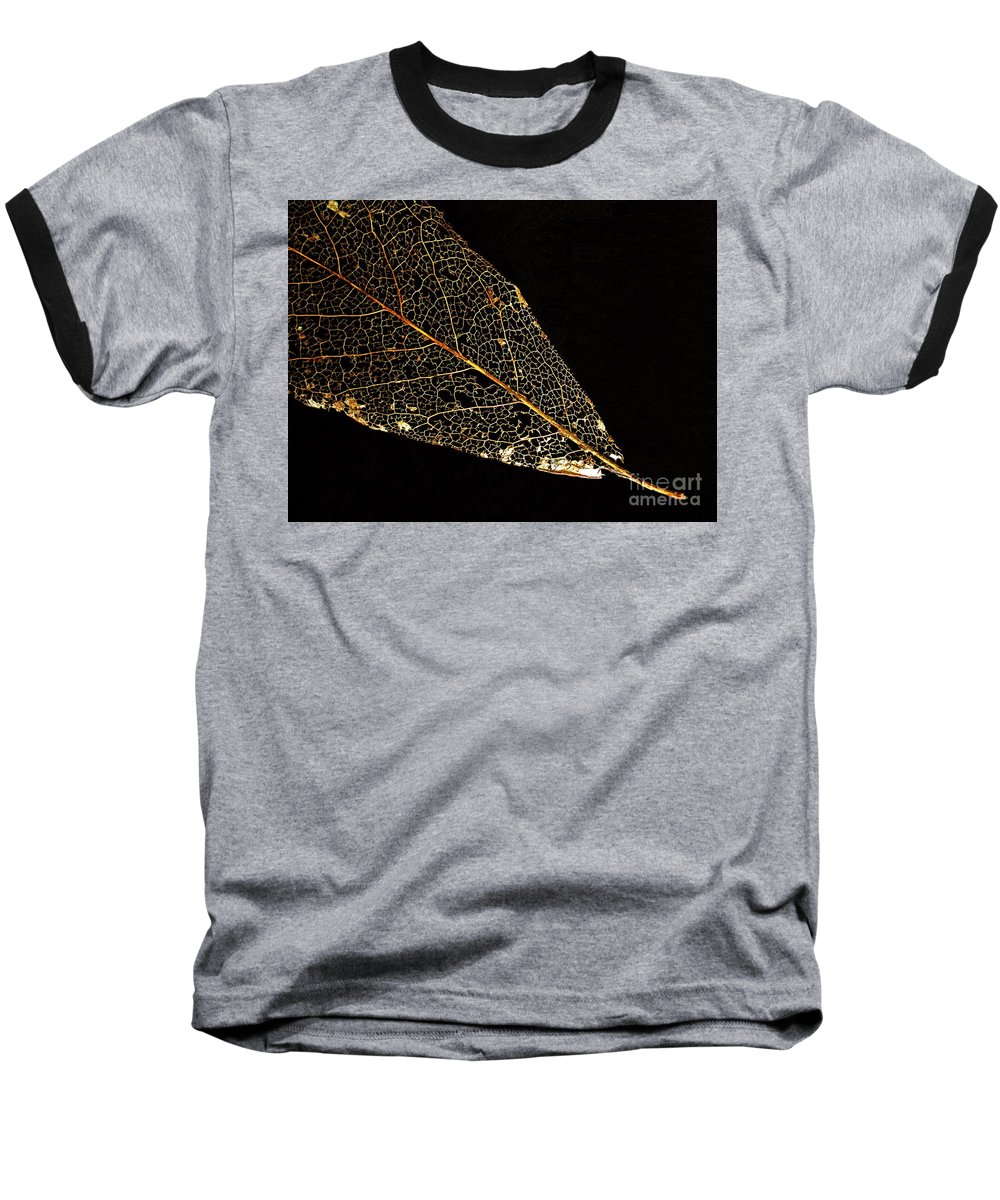 Leaf Baseball T-Shirt featuring the photograph Gold Leaf by Ann Horn