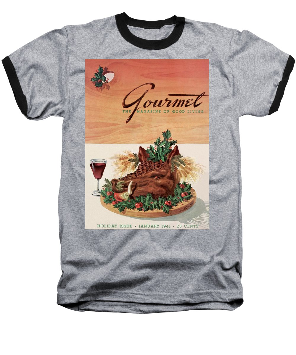 Fashion Baseball T-Shirt featuring the photograph Gourmet Cover Featuring A Boar's Head by Henry Stahlhut
