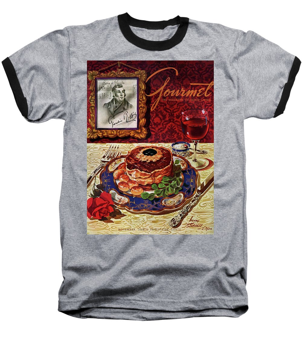 Food Baseball T-Shirt featuring the photograph Gourmet Cover Featuring A Plate Of Tournedos by Henry Stahlhut