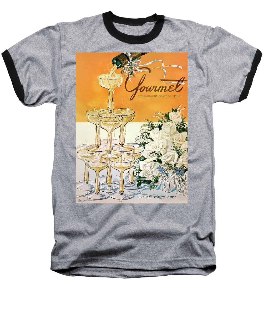 Entertainment Baseball T-Shirt featuring the photograph Gourmet Cover Featuring A Pyramid Of Champagne by Henry Stahlhut