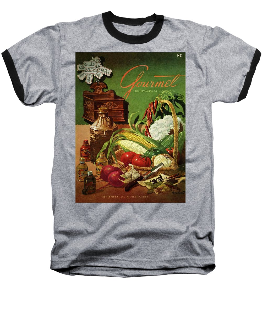 Food Baseball T-Shirt featuring the photograph Gourmet Cover Featuring A Variety Of Vegetables by Henry Stahlhut