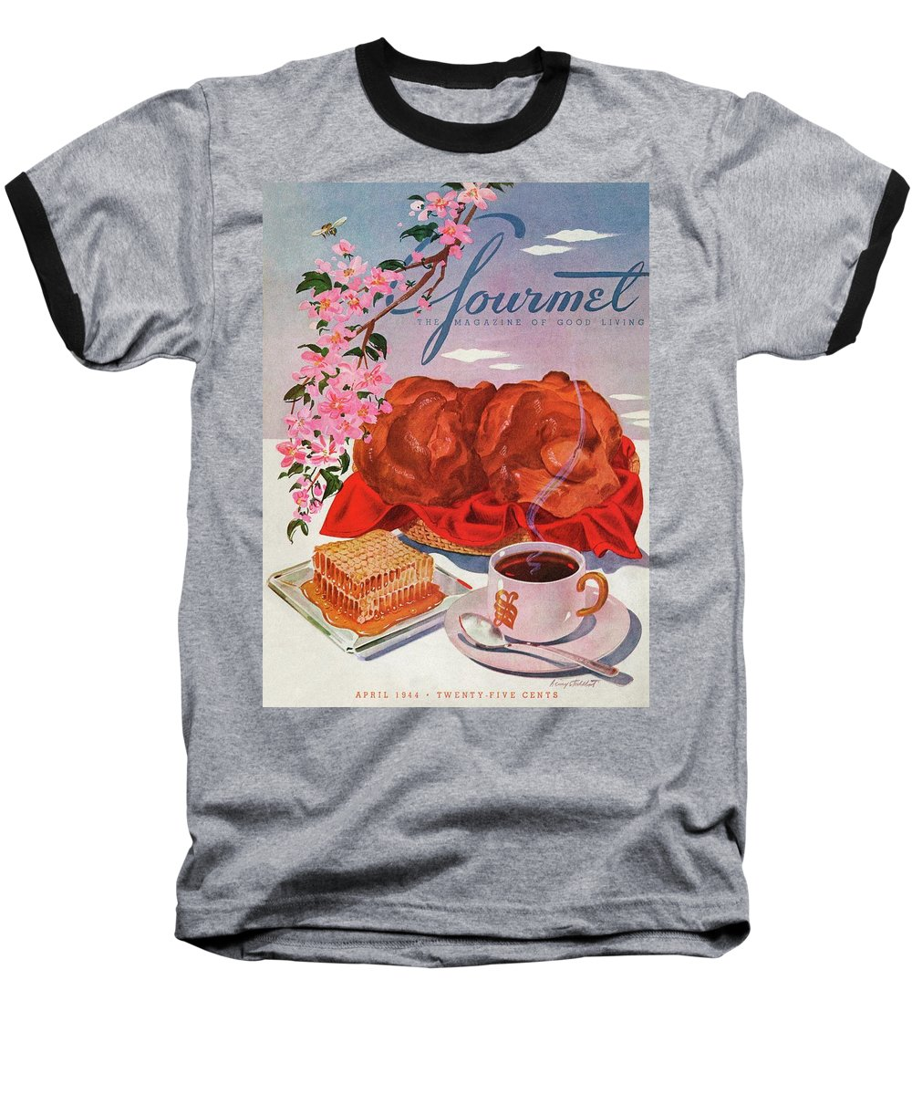 Food Baseball T-Shirt featuring the photograph Gourmet Cover Illustration Of A Basket Of Popovers by Henry Stahlhut