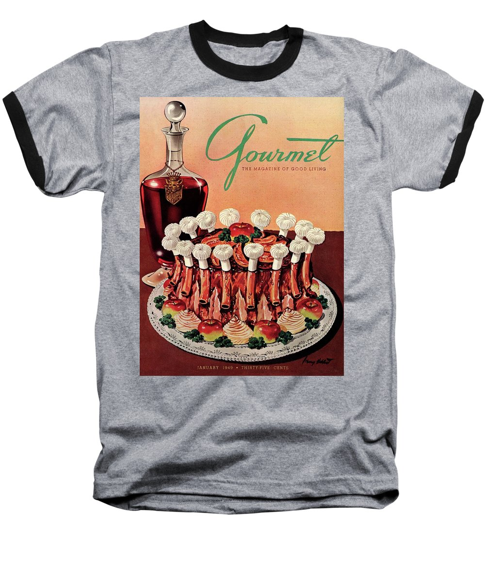 Illustration Baseball T-Shirt featuring the photograph Gourmet Cover Illustration Of A Crown Roast by Henry Stahlhut