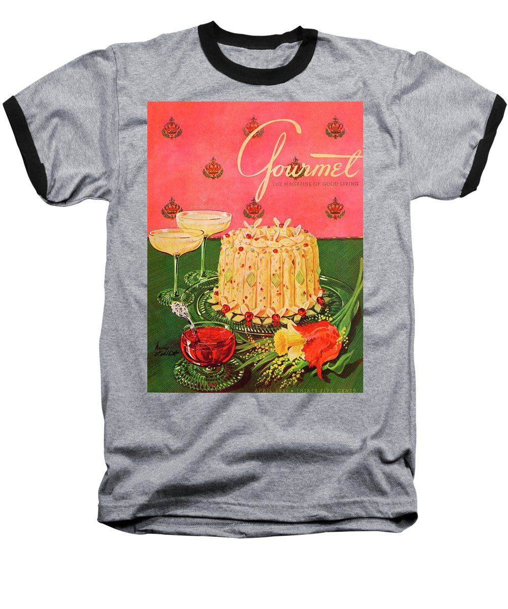 Illustration Baseball T-Shirt featuring the photograph Gourmet Cover Illustration Of A Molded Rice by Henry Stahlhut