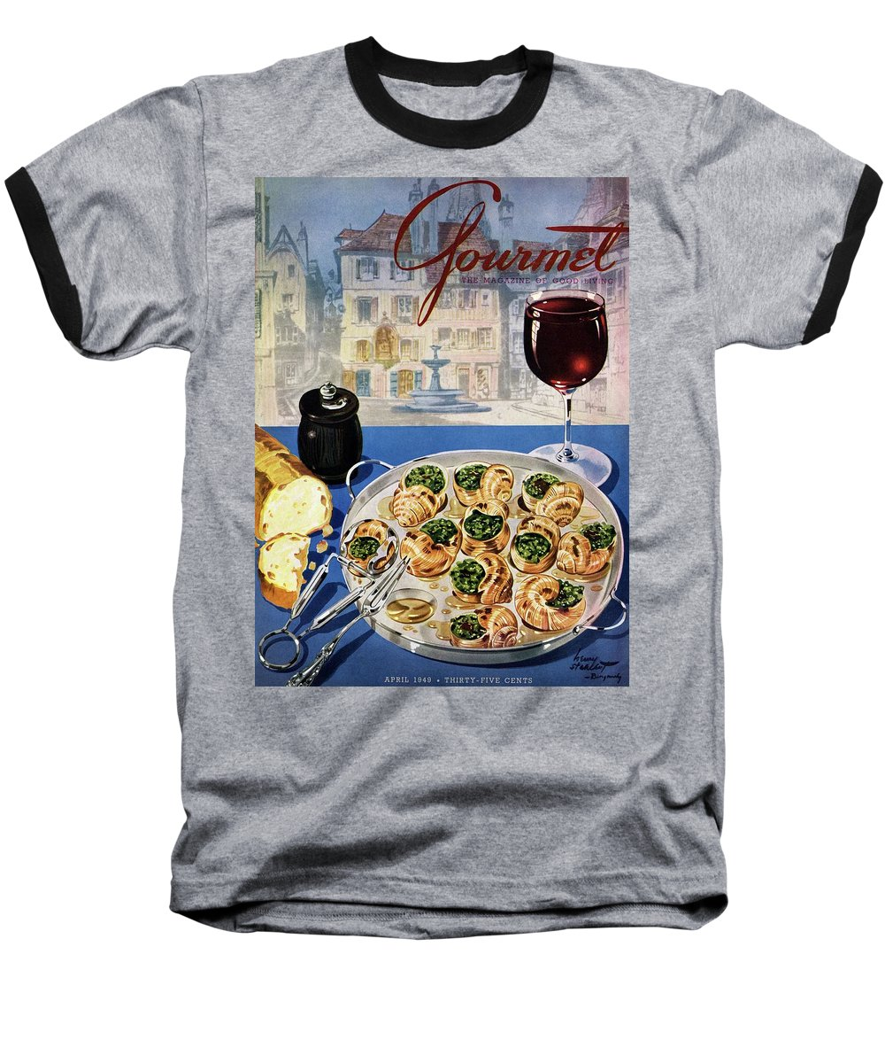 Food Baseball T-Shirt featuring the photograph Gourmet Cover Illustration Of A Platter by Henry Stahlhut