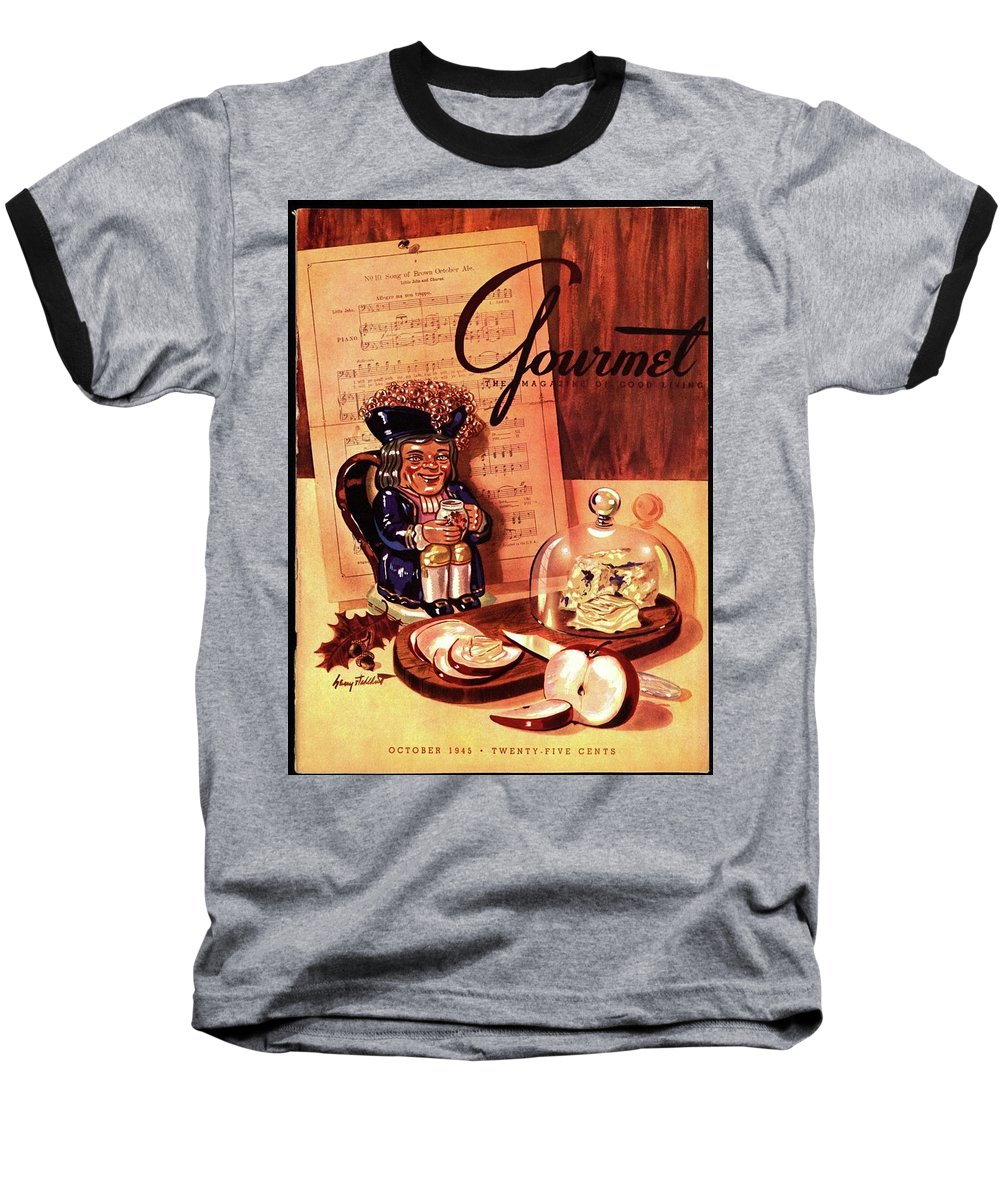 Illustration Baseball T-Shirt featuring the photograph Gourmet Cover Illustration Of A Tray Of Cheese by Henry Stahlhut