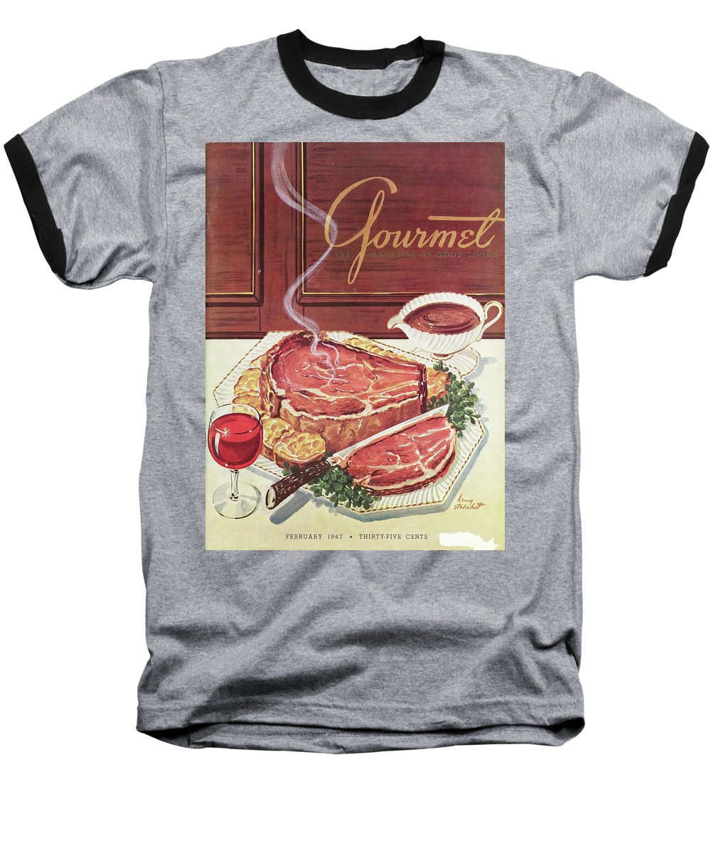 Food Baseball T-Shirt featuring the photograph Gourmet Cover Of A Roast Beef by Henry Stahlhut