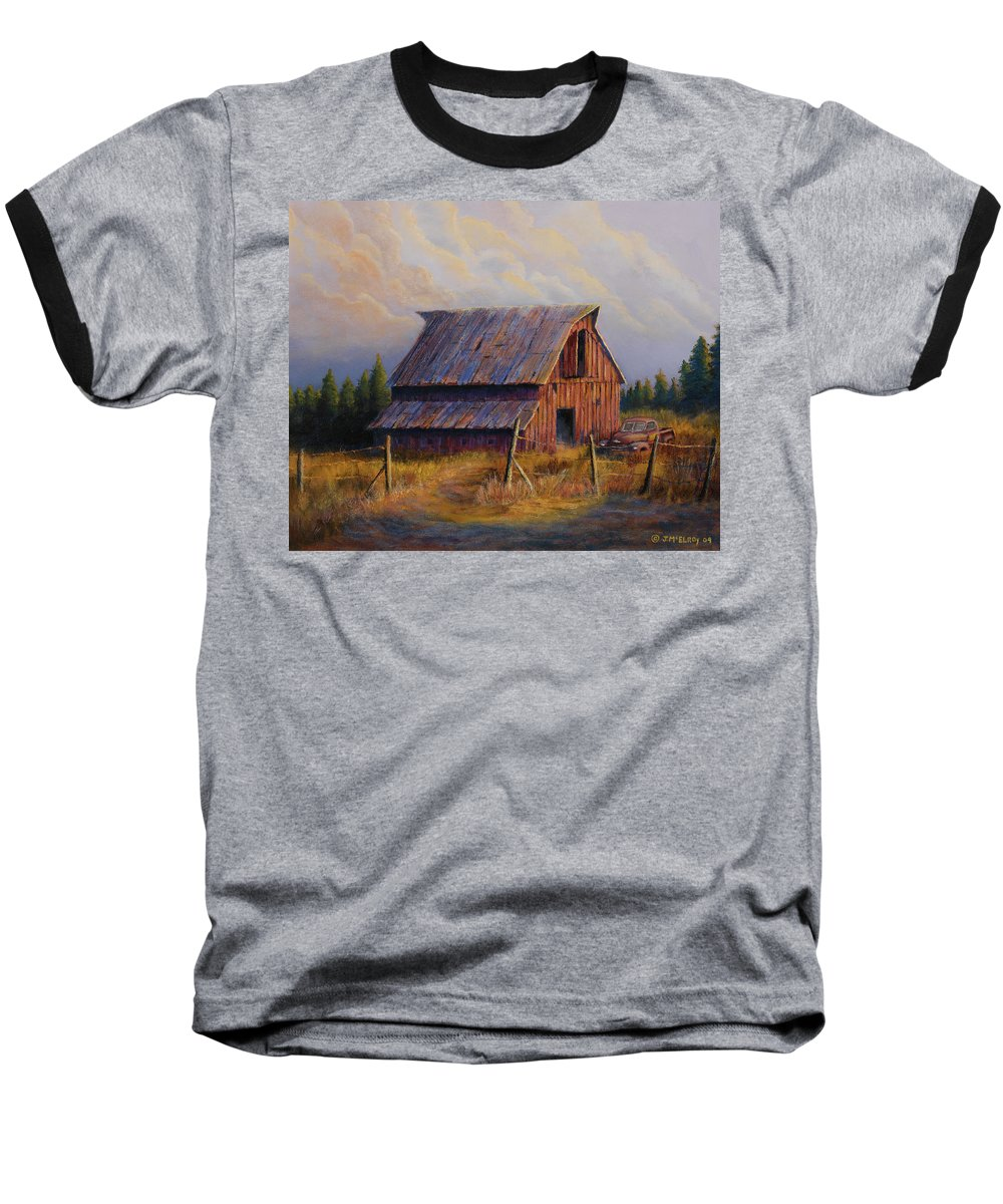 Barn Baseball T-Shirt featuring the painting Grandpas Truck by Jerry McElroy