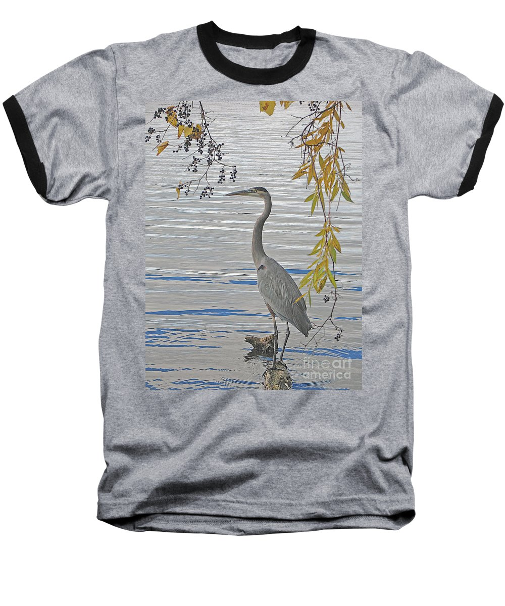 Heron Baseball T-Shirt featuring the photograph Great Blue Heron by Ann Horn