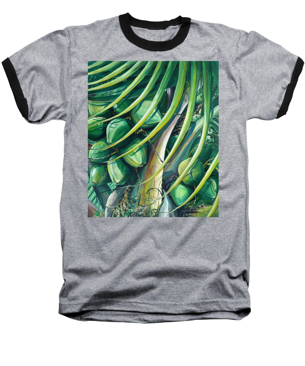 Coconut Painting Caribbean Painting Coconuts Caribbean Tropical Painting Palm Tree Painting  Green Botanical Painting Green Painting Baseball T-Shirt featuring the painting Green Coconuts 2 by Karin Dawn Kelshall- Best