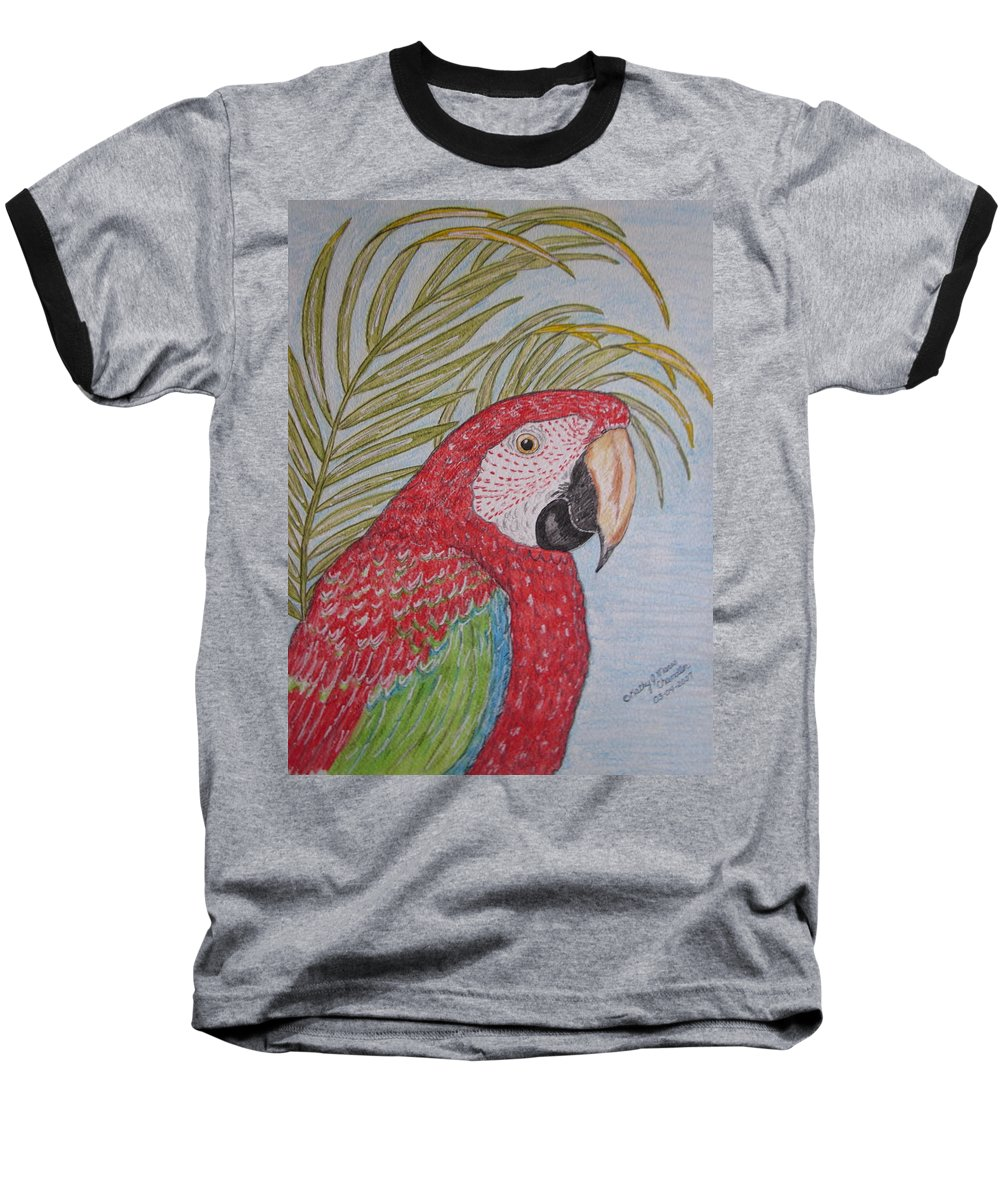 Green Wing Macaw Baseball T-Shirt featuring the painting Green Winged Macaw by Kathy Marrs Chandler