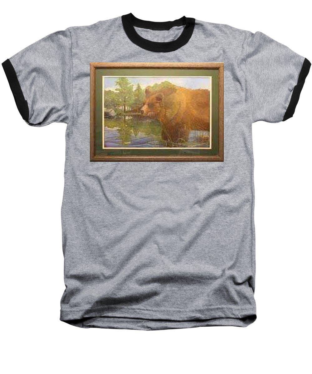 Rick Huotari Baseball T-Shirt featuring the painting Grizzly by Rick Huotari