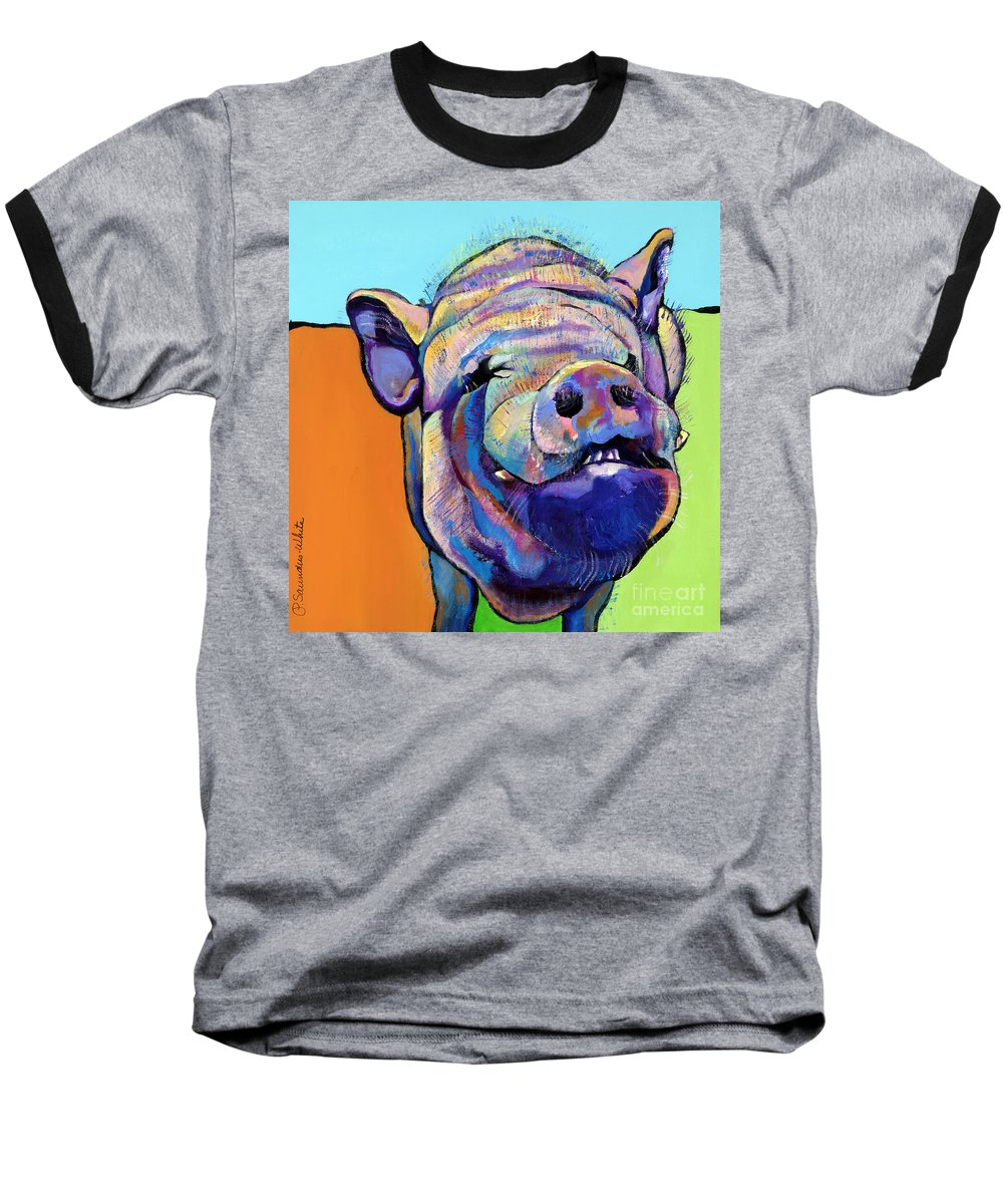 Pat Saunders-white Canvas Prints Baseball T-Shirt featuring the painting Grunt  by Pat Saunders-White