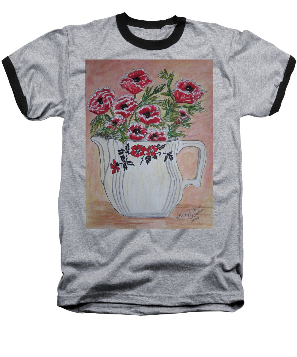 Hall China Baseball T-Shirt featuring the painting Hall China Red Poppy And Poppies by Kathy Marrs Chandler