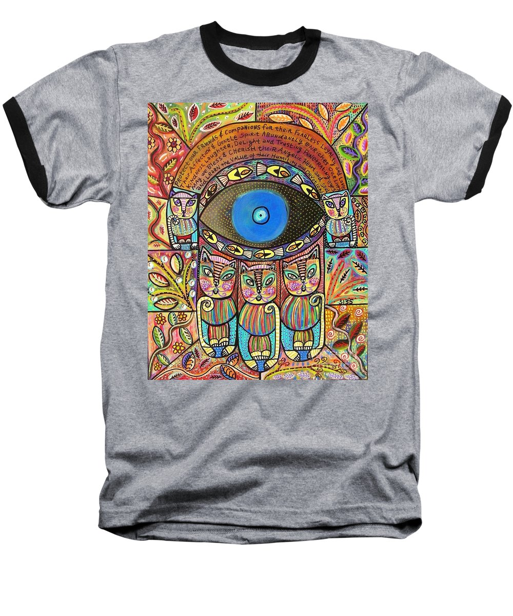 Baseball T-Shirt featuring the painting Hamsa Cat Blessing by Sandra Silberzweig