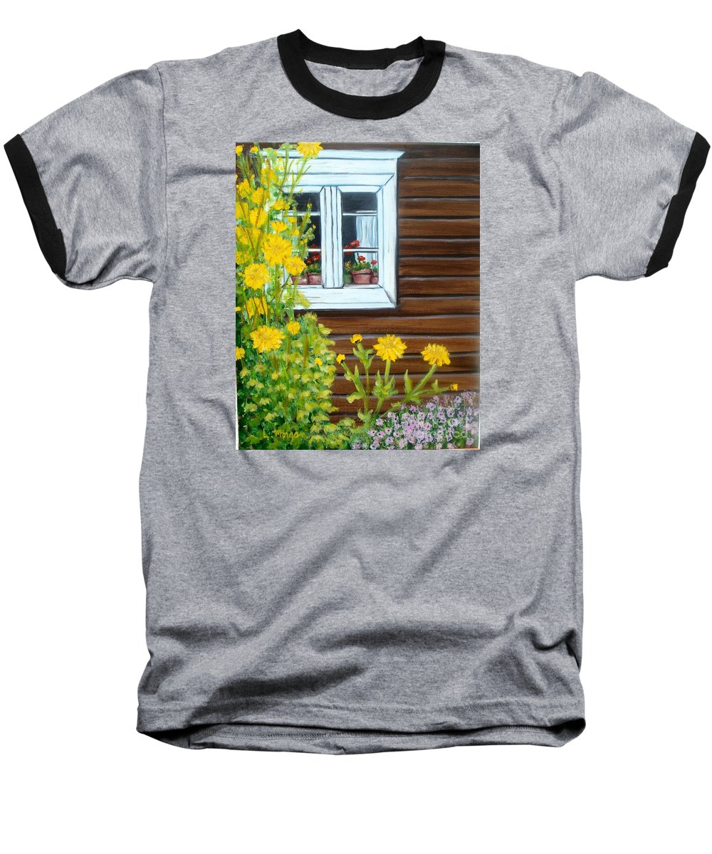 Window Baseball T-Shirt featuring the painting Happy Homestead by Laurie Morgan