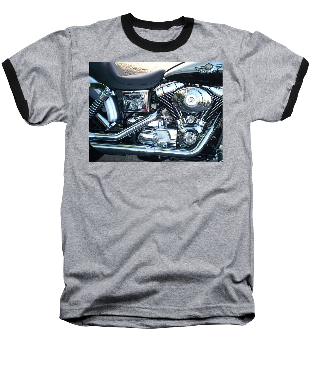 Motorcycles Baseball T-Shirt featuring the photograph Harley Black And Silver Sideview by Anita Burgermeister