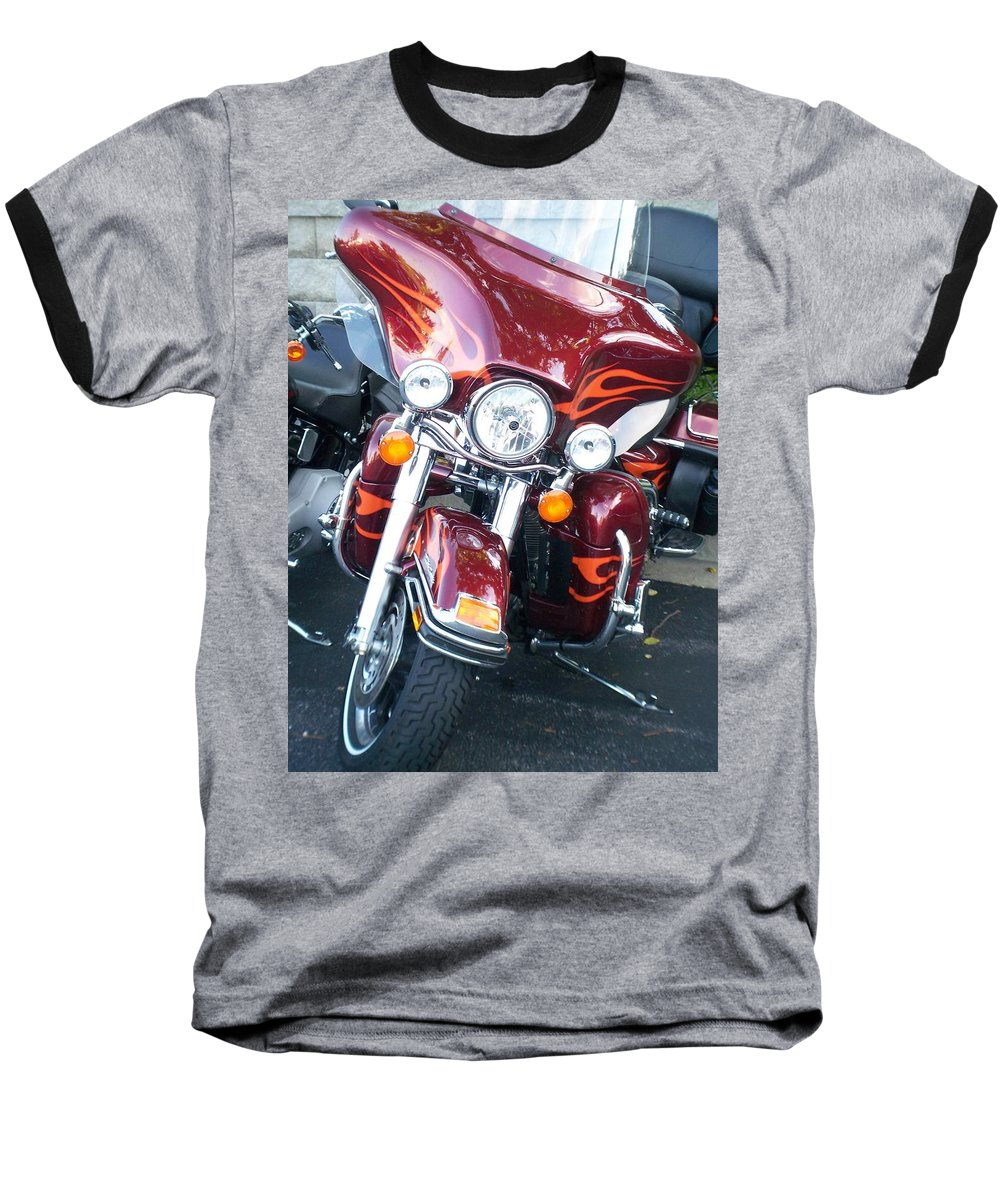 Motorcycles Baseball T-Shirt featuring the photograph Harley Red W Orange Flames by Anita Burgermeister