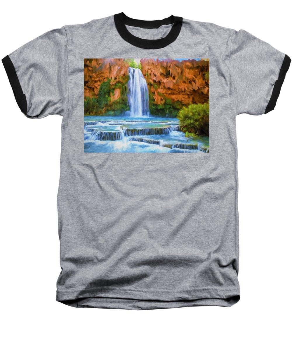 Fine Art Baseball T-Shirt featuring the painting Havasu Falls by David Wagner