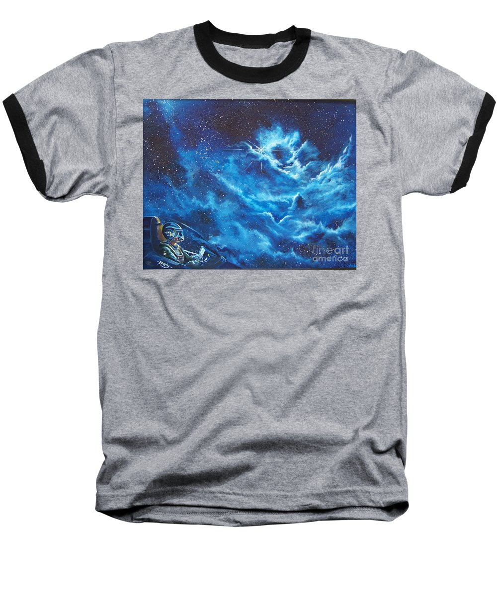 Astro Baseball T-Shirt featuring the painting Heavens Gate by Murphy Elliott