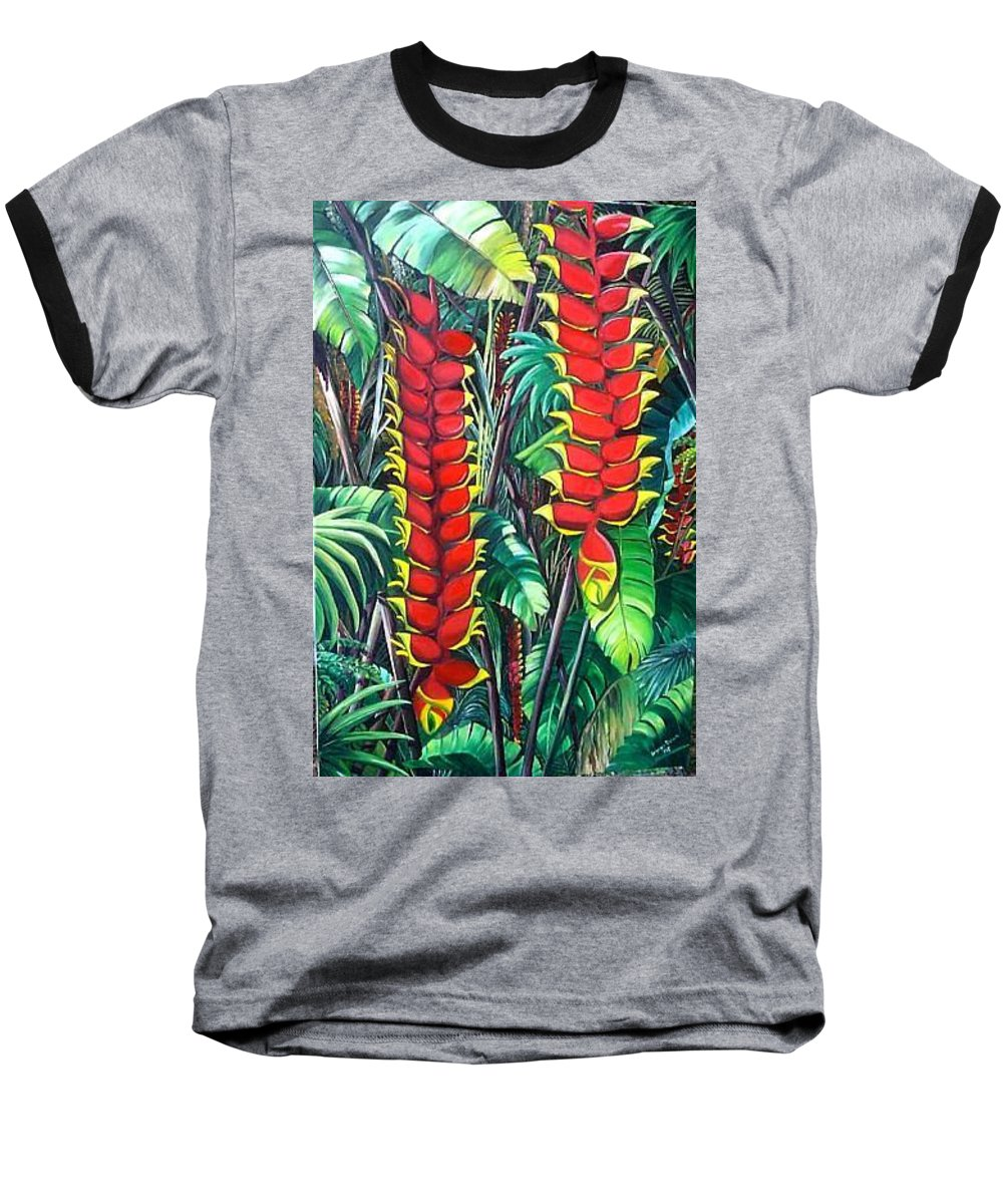 Heliconia Painting Hanging Red Heliconia Tropical Painting Baseball T-Shirt featuring the painting Heliconia Rostrata by Karin Dawn Kelshall- Best
