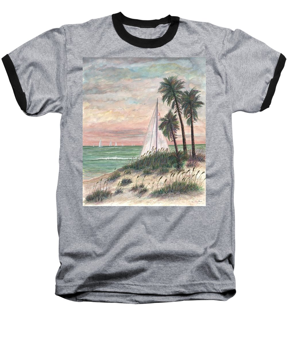 Sailboats; Palm Trees; Ocean; Beach; Sunset Baseball T-Shirt featuring the painting Hideaway by Ben Kiger